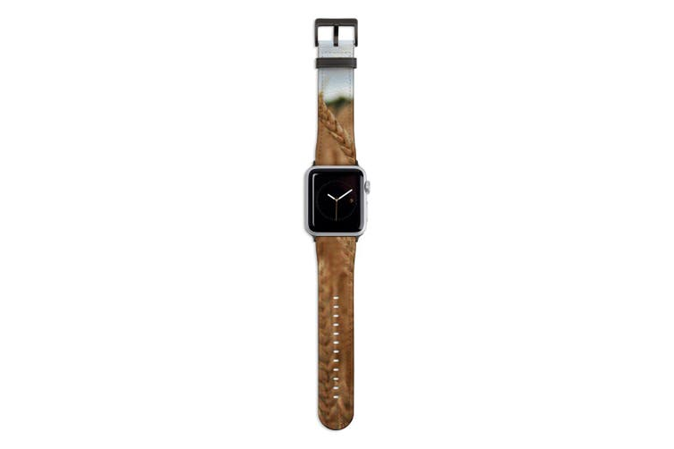 For Apple Watch Band 44mm/42mm PU Leather Black Lugs  Wheat Field