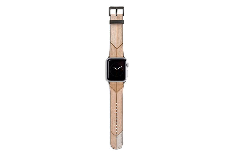 For Apple Watch Band 44mm/42mm PU Leather Black Lugs  Wooden Effect Tiles