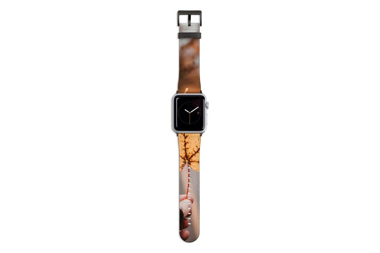 For Apple Watch Band 44mm/42mm PU Leather Black Lugs  Yellow Maple Leaf