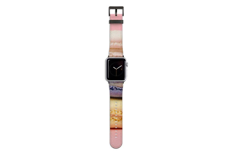 For Apple Watch Band 44mm/42mm PU Leather Black Lugs  Colourful Macarons