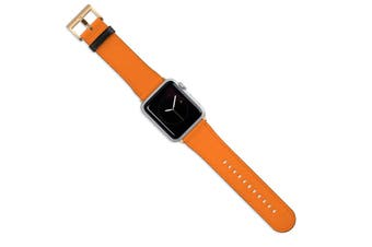 For Apple Watch Band (44 42mm) Vegan Leather Strap Gold Buckle Orange