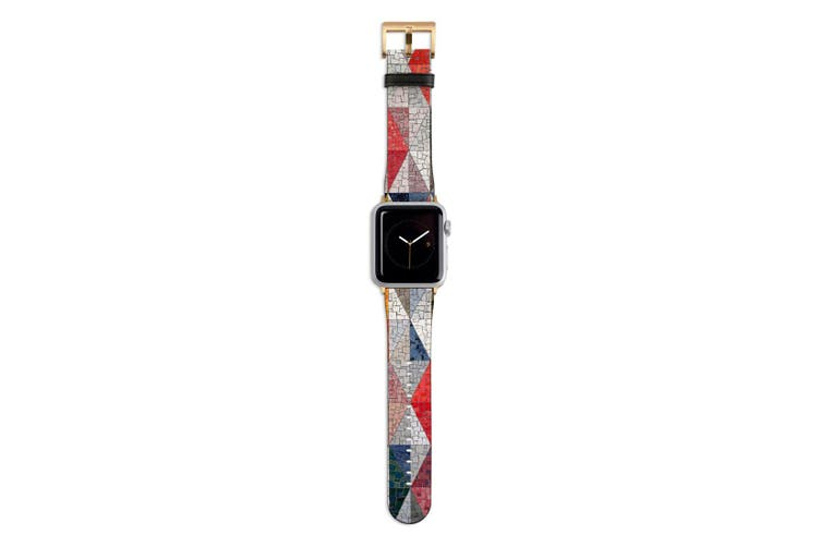 For Apple Watch Band 44mm/42mm PU Leather Gold Lugs  Glass Wall