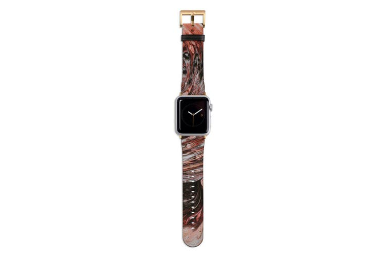 For Apple Watch Band 44mm/42mm PU Leather Gold Lugs  Splash Paint