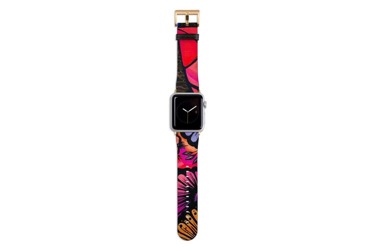 For Apple Watch Band 44mm/42mm PU Leather Gold Lugs  Red Blue
