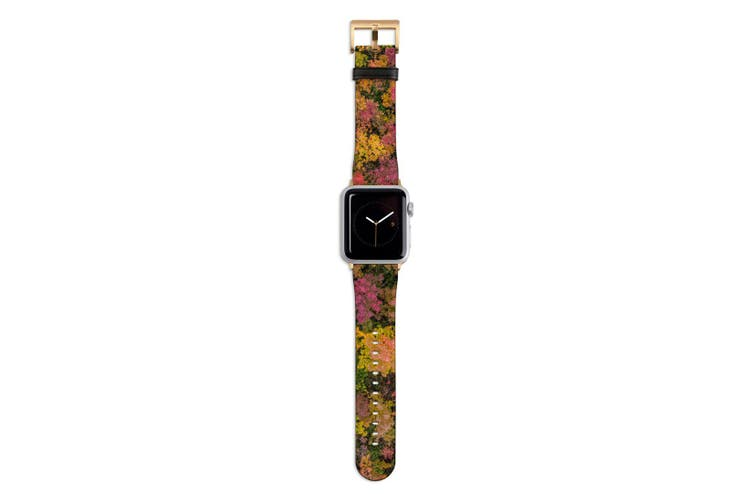 For Apple Watch Band 44mm/42mm PU Leather Gold Lugs  Autumn Leaves