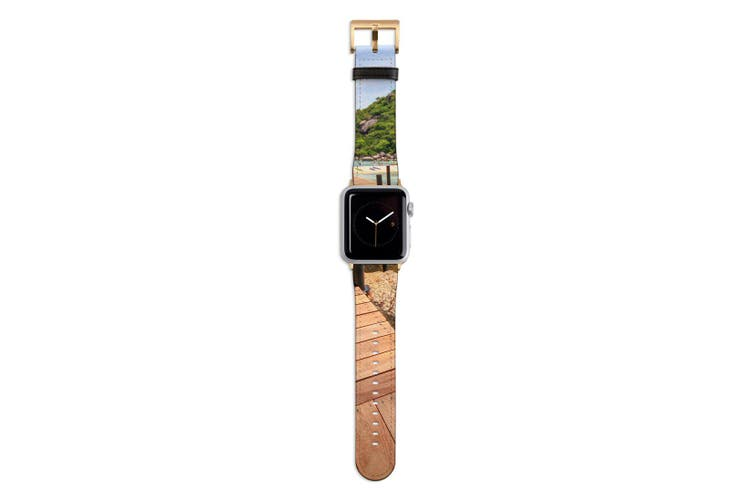 For Apple Watch Band 44mm/42mm PU Leather Gold Lugs  Boardwalk By The Ocean