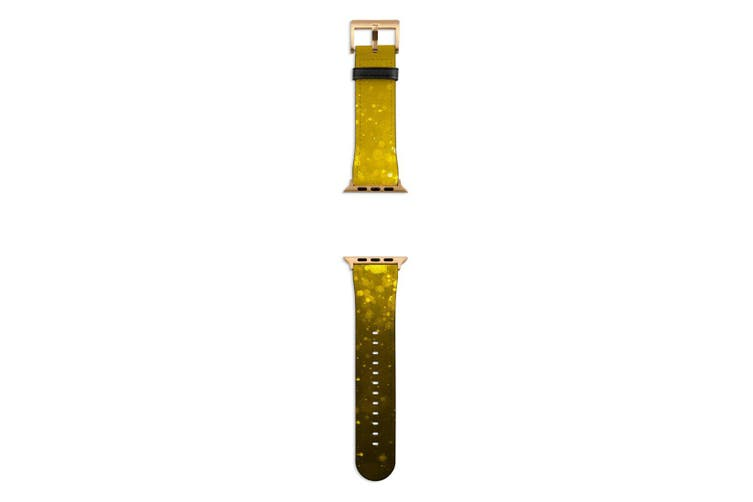 For Apple Watch Band 44mm/42mm PU Leather Gold Lugs  Golden Oil