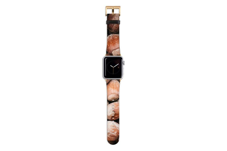For Apple Watch Band 44mm/42mm PU Leather Gold Lugs  Chestnuts Texture