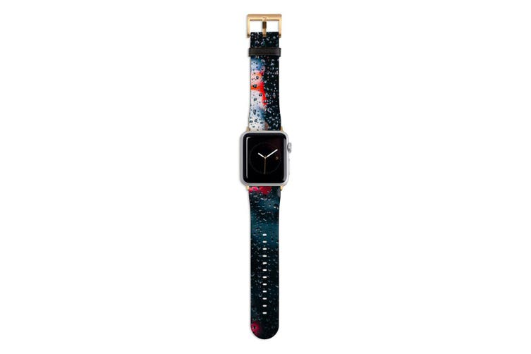 For Apple Watch Band 44mm/42mm PU Leather Gold Lugs  City Lights