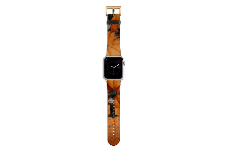 For Apple Watch Band 44mm/42mm PU Leather Gold Lugs  Pumpkin Pile