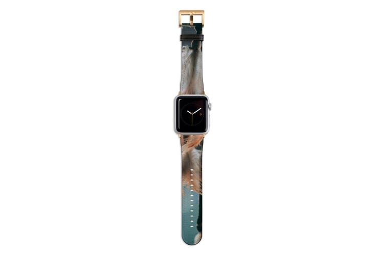 For Apple Watch Band 44mm/42mm PU Leather Gold Lugs  Dream Feather