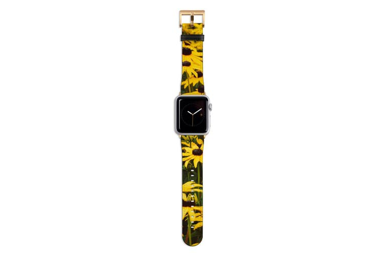 For Apple Watch Band 44mm/42mm PU Leather Gold Lugs  Field Daisies