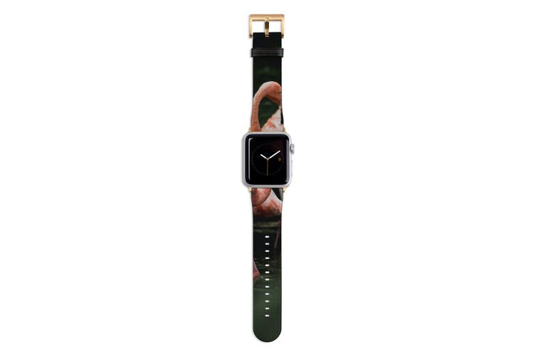 For Apple Watch Band 44mm/42mm PU Leather Gold Lugs  Flamingo In Pond