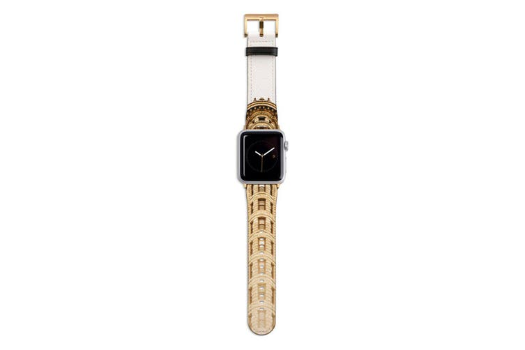 For Apple Watch Band 44mm/42mm PU Leather Gold Lugs  Flatiron Building