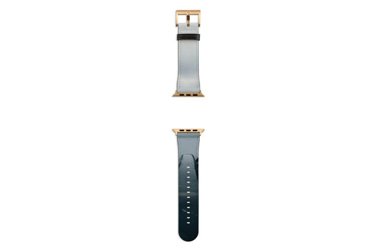 For Apple Watch Band 44mm/42mm PU Leather Gold Lugs  Fog Dark Edge