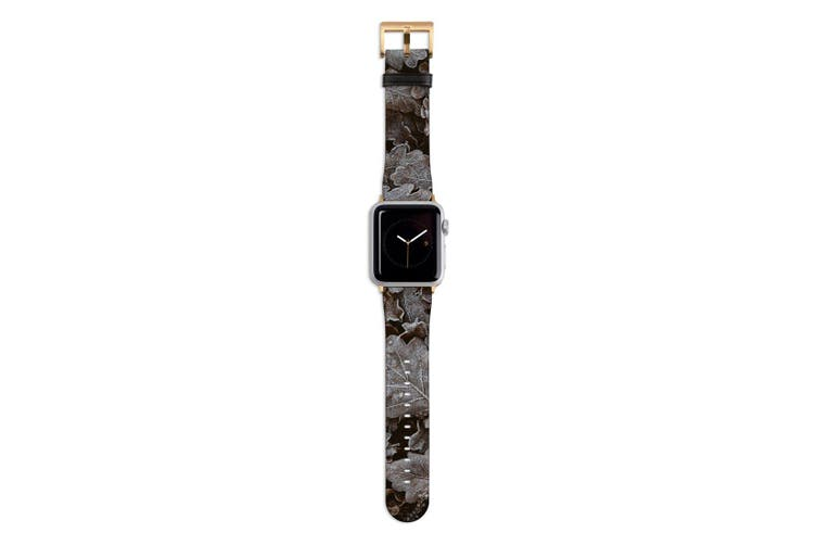 For Apple Watch Band 44mm/42mm PU Leather Gold Lugs  Frozen Forest Leaves