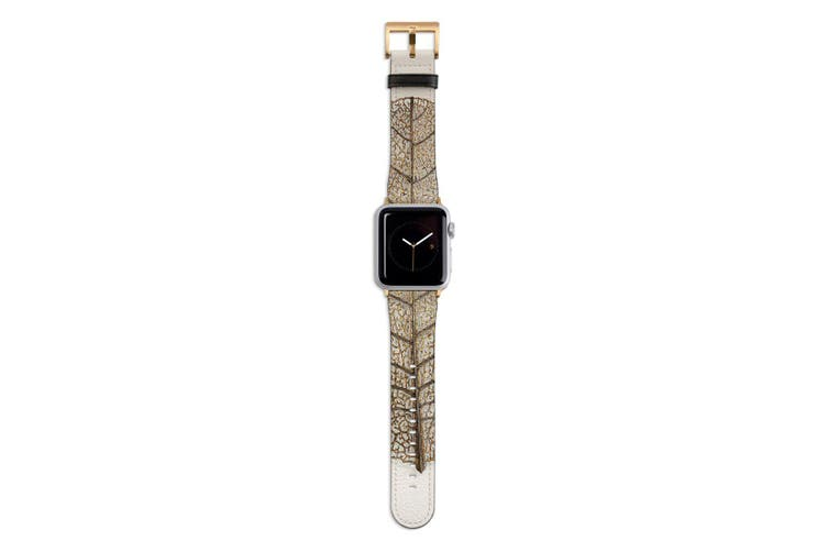 For Apple Watch Band 44mm/42mm PU Leather Gold Lugs  Golden Leaf