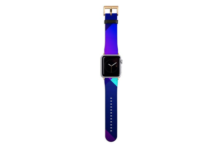 For Apple Watch Band 44mm/42mm PU Leather Gold Lugs  Gradient Pattern