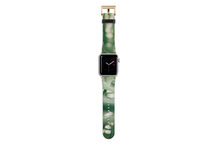 For Apple Watch Band 44mm/42mm PU Leather Gold Lugs  Indoor Green Plant