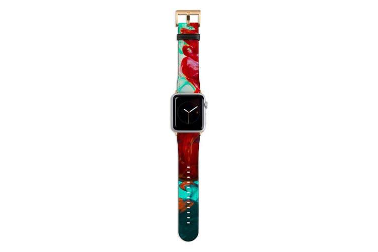 For Apple Watch Band 44mm/42mm PU Leather Gold Lugs  Green Red Ink Drop