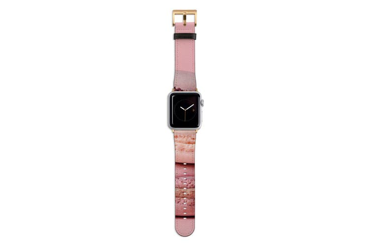 For Apple Watch Band 44mm/42mm PU Leather Gold Lugs  Pink Macarons