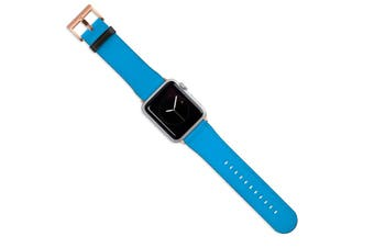 For Apple Watch Band (44 42mm) Vegan Leather Strap Rose Gold Buckle Turquoise