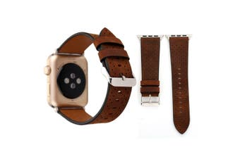 For Apple Watch Series 4,3,2,1 Coffee Perforated Genuine Leather Strap 40mm,38mm