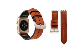 For Apple Watch Series 4,3,2,1 Coffee Retro Genuine Leather Strap 40mm,38mm