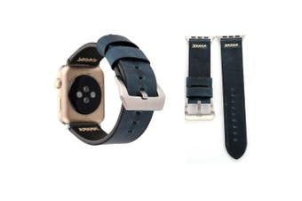 For Apple Watch Series 4,3,2,1 Blue Retro Genuine Leather Strap 44mm,42mm