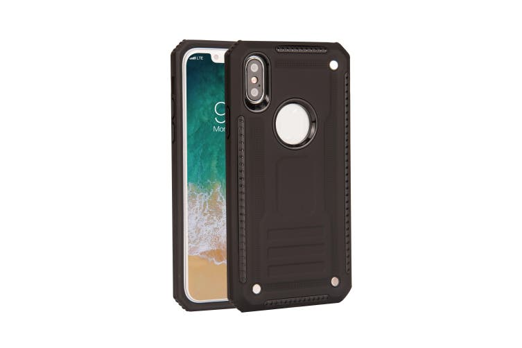 For iPhone XS & X Case, Armour Strong Shockproof Thin Tough Phone Cover, Black