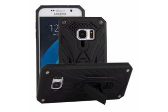 For Samsung Galaxy S7 Case, Armour Strong Shockproof Tough Cover Kickstand Black