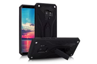 For Samsung Galaxy S9 Case Armour Strong Shockproof Tough Cover Kickstand, Black