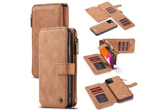 For iPhone 11 Pro Max Case, Wallet PU Leather Detachable Flip Cover, Brown