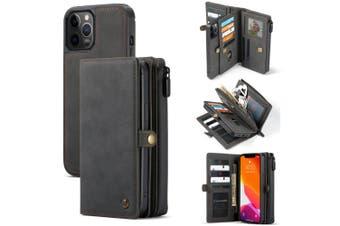 For iPhone 12 / 12 Pro Case, Wallet PU Leather Detachable Flip Cover, Black