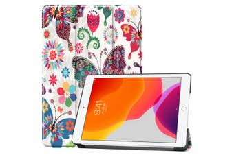 For iPad 10.2 Colored Drawing Horizontal Flip Leather Case , Smart Flip Cover Colorful Butterfly