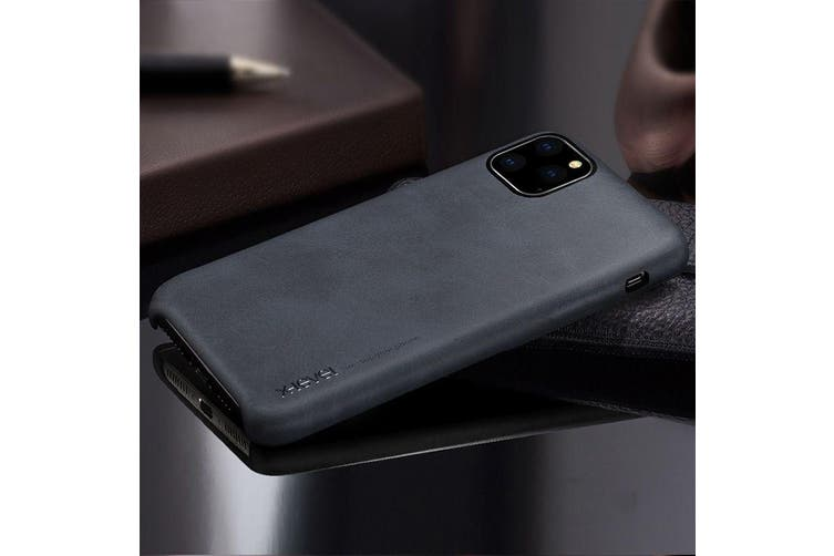 For iPhone 11 Pro Max X-level Vintage Series Cowboy Texture Flexible Leather Case, Black