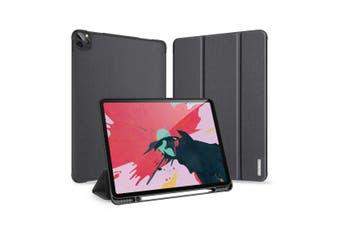 For iPad Pro 12.9 (2020) Flip Magnetic PU Leather Case 3-folding Holder & Pen Slot  Black