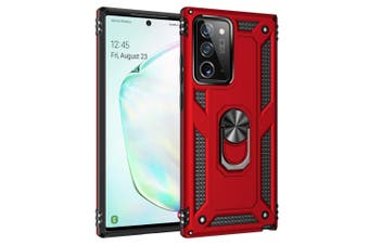 For Samsung Galaxy Note 20 Ultra 5G Armor TPU + PC Protective Case Ring Holder, Red