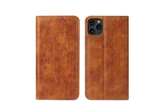 For iPhone 11 Case PU Leather Flip Wallet Protective Cover Kickstand Khaki