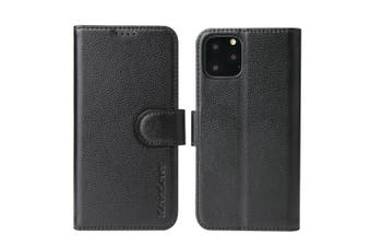 For iPhone 11 Pro Case iCoverLover Black Genuine Cow Leather Wallet Folio Case