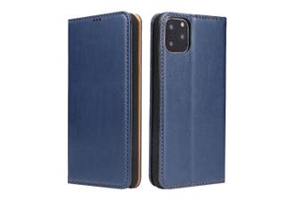 For iPhone 11 Case Leather Flip Wallet Folio Protective Cover with Stand Blue