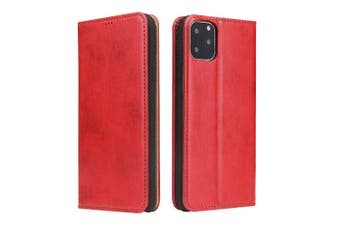For iPhone 11 Case Leather Flip Wallet Folio Protective Cover with Stand Red
