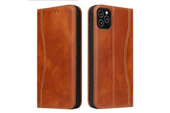 For iPhone 12 Pro/12 Case Brown Fierre Shan Genuine Cowhide Leather Wallet Cover