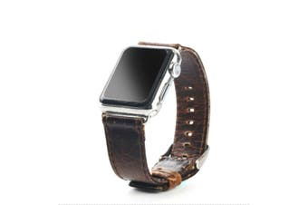 40mm,38mm for Apple Watch Series 1,2,3 and 4 Leather Oil Wax Strap Dark Brown