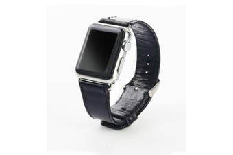 44mm,42mm for Apple Watch Series 1,2,3 and 4 Genuine Leather Oil Wax Strap Black
