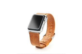 44mm,42mm for Apple Watch Series 1,2,3 and 4 Genuine Leather Oil Wax Strap Brown