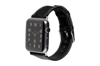 44mm,42mm for Apple Watch Series 1,2,3 and 4 Genuine Leather Strap Black