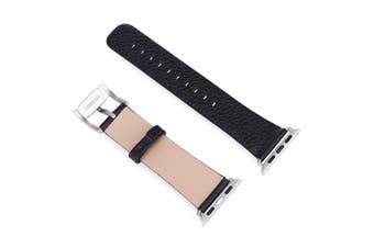 44mm,42mm for Apple Watch Series 1,2,3 and 4 Cowhide Genuine Leather Strap Black