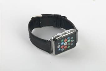 44mm,42mm for Apple Watch Series 1,2,3 and 4 Genuine Leather Rounded Strap Black