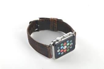 44mm,42mm for Apple Watch Series 1,2,3 and 4 Leather Rounded Strap Dark Brown